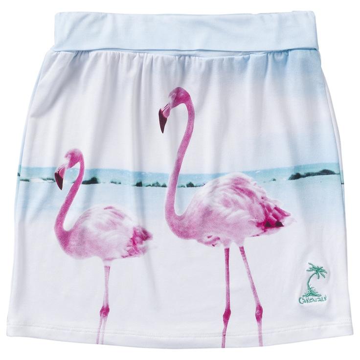 Soepelvallend rokje van Cakewalk (model Toby) met hawaiiaanse flamingo print en een elastische tailleband.    Prijs: € 24,95,-