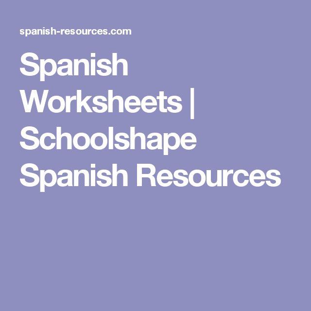 Spanish Worksheets | Schoolshape Spanish Resources