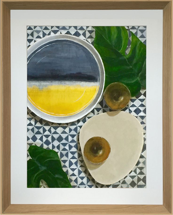 "Yellow - Acrylic and Oil on board 457x610mm (18x24"") This painting can be hung portrait or landscape. Marimekko Saapaivakirja Platter and Dinosaur Designs Platter with small bowls on Maharam Fabric."