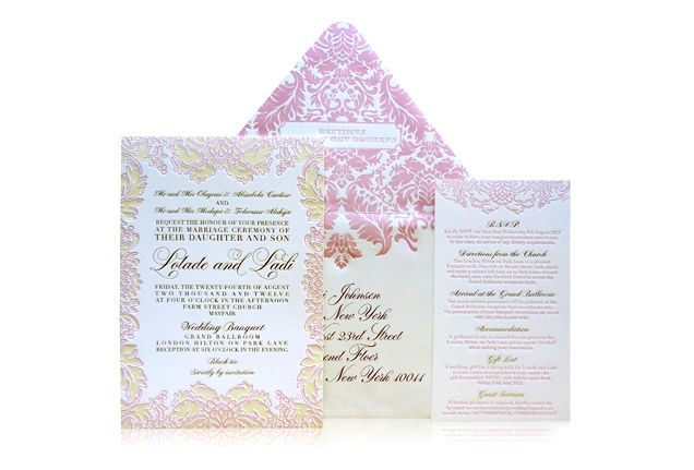A pastel-coloured floral motif is repeated on the wedding invitation, reply card and envelope. Ceci Couture Lolade & Ladi Invitation Suite by Ceci New York