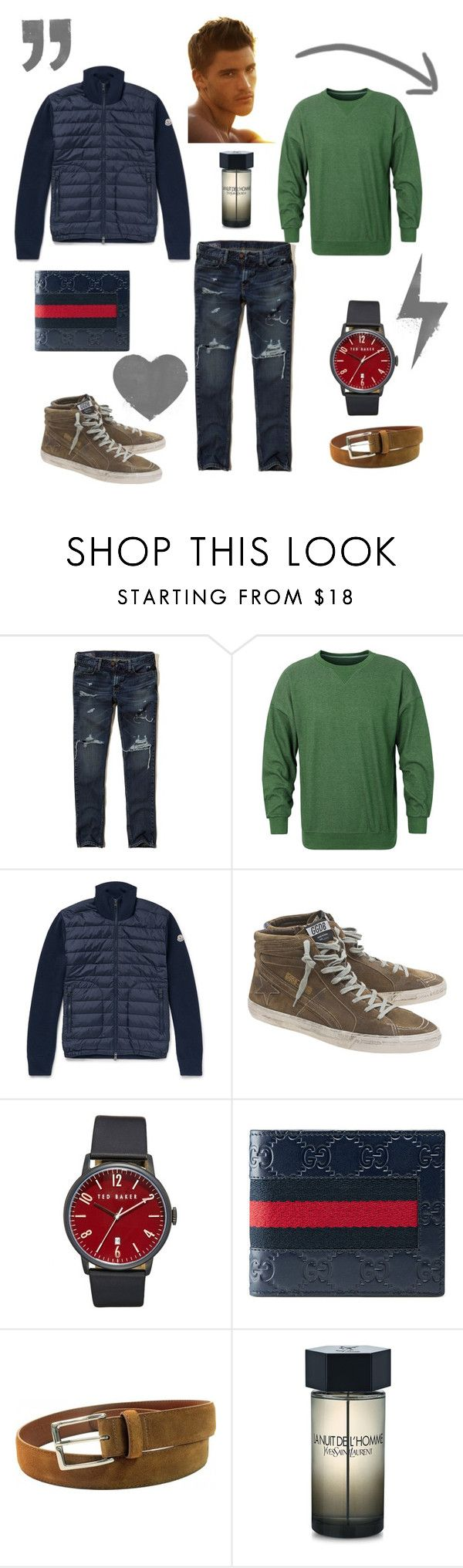 menlook by malishevan on Polyvore featuring Moncler, Hollister Co., Golden Goose, Ted Baker, Gucci, Alden, Yves Saint Laurent, men's fashion and menswear