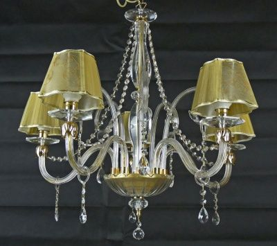 CHANDELIERS CRYSTAL SHADE LIGHT LED OR LOW CONSUMPTION PENDING DROPS ITALIAN HAND ART.C7