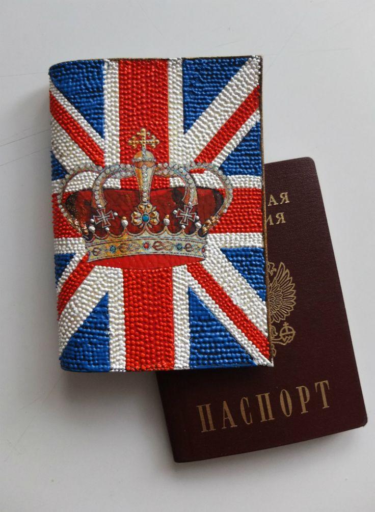 """Обложка на паспорт """"Флаг Великобритании"""", точечная роспись контурами"""