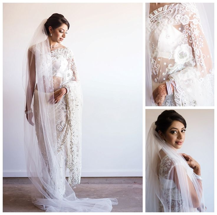 East meets west - Indian bride Ashna in a white sari for her church wedding ceremony.