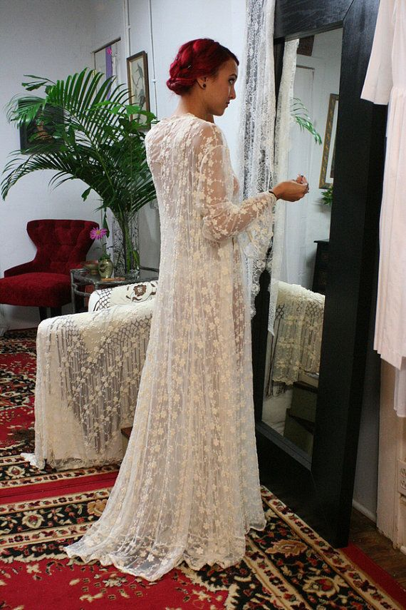 Embroidered French Lace Bridal Robe Sarafina by SarafinaDreams