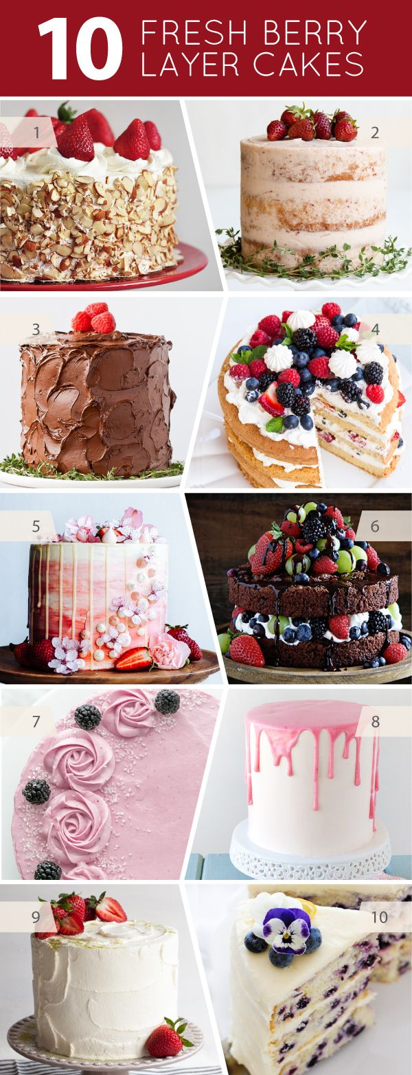 10 Layer Cake Recipes Made with Fresh Berries -- Strawberries, Raspberries, Blueberries and Blackberries | on TheCakeBlog.com