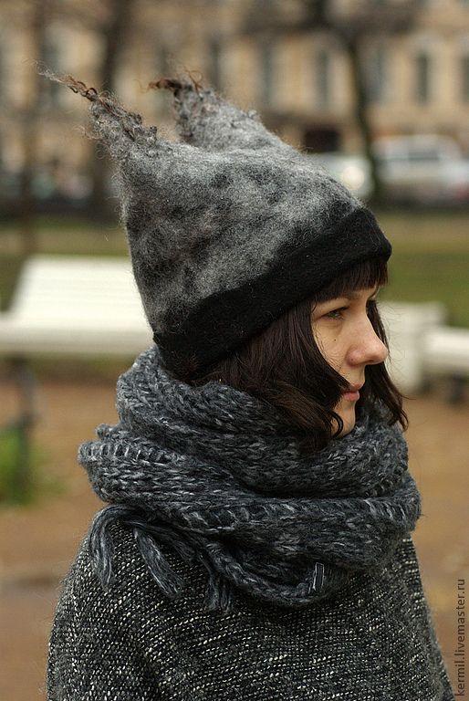 Купить Шапка валяная с ушами - комбинированный, звериная расцветка, шапка с ушками, шапка зимняя