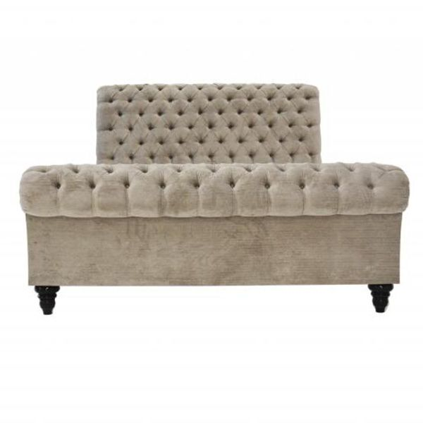 CLASSIC UPHOLSTERED CHESTERFIELD BED NATURAL