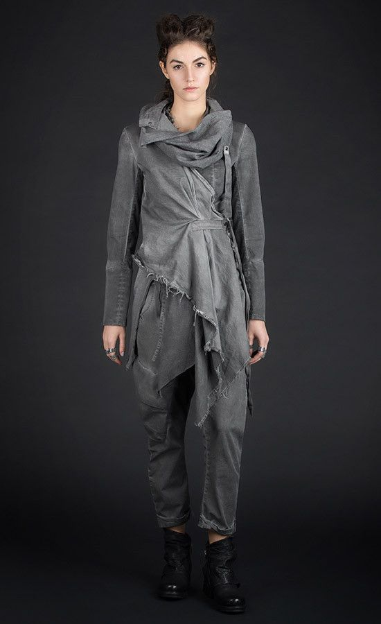 MARVEEL -  Slim fit grey old dye jacket with asymmetrical draped front / Available also in black | Studio B3 |
