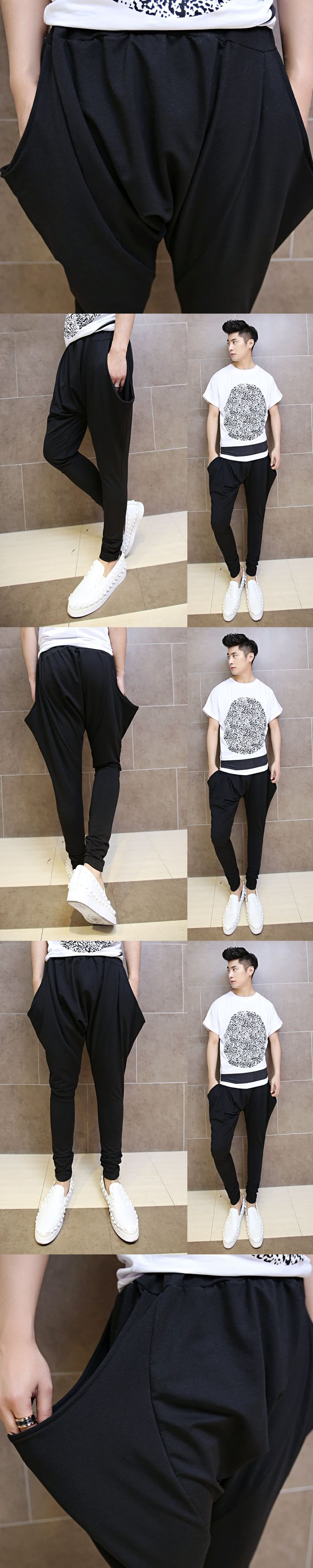 2017 men's new casual pants male Korean fashion personality harem pants hanging low crotch pants