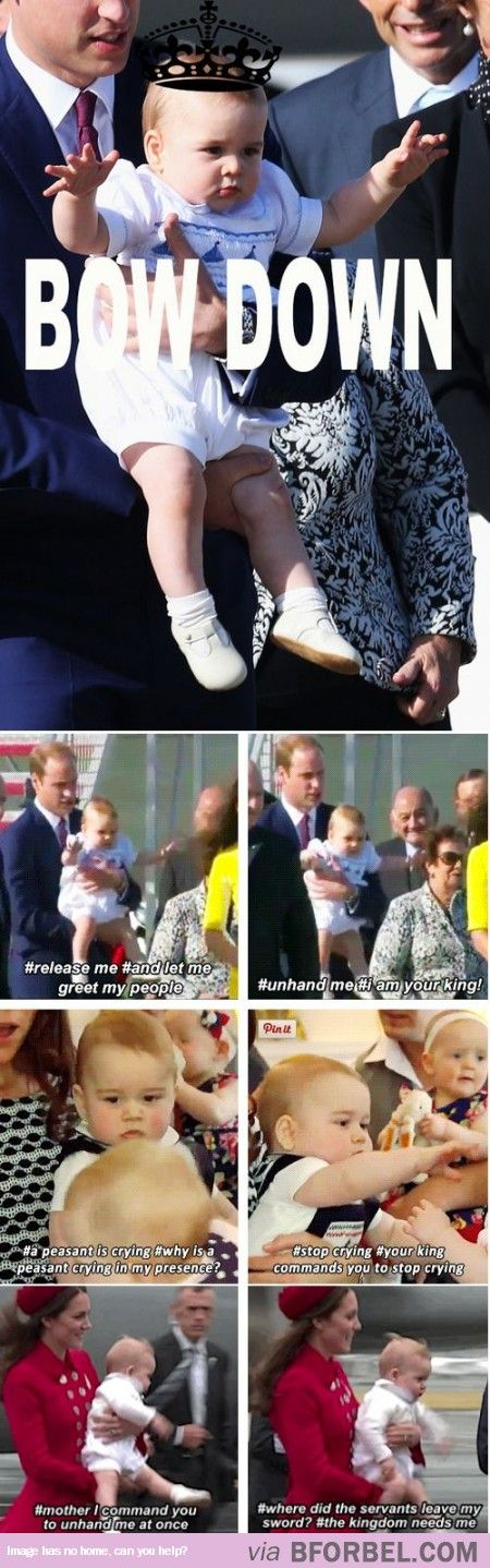 All Hail Prince George the Sassy. What if, when he's grown up a bit and is a teenager, he discovers all these memes and decides to talk like this in real life, just to mess with everyone.