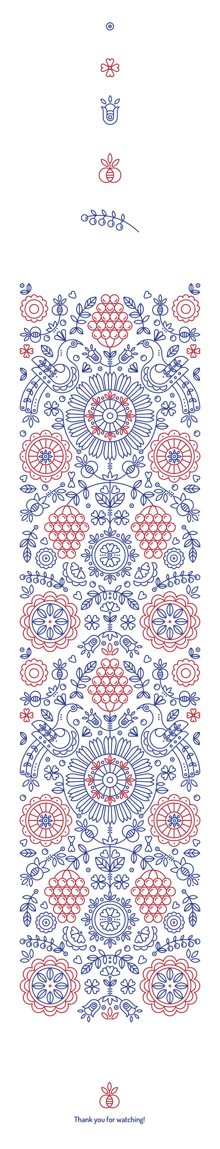 Ethnic pattern based on authentic symbols of classic Ukrainian drawings, by Maria Pastykh.