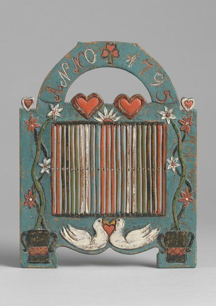 folk art love token braid loom - carved & painted wood - swedish, 1795
