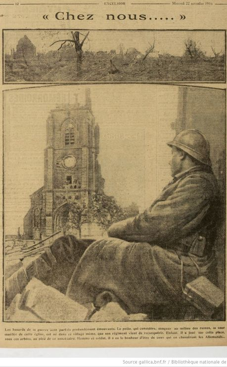 WWI, 22 Nov 1916; French Poilu thinking of home. Excelsior -Gallica