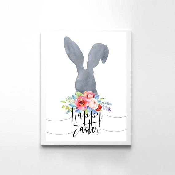 Happy Easter Printable Card Easter Print Bunny Happy Easter Card