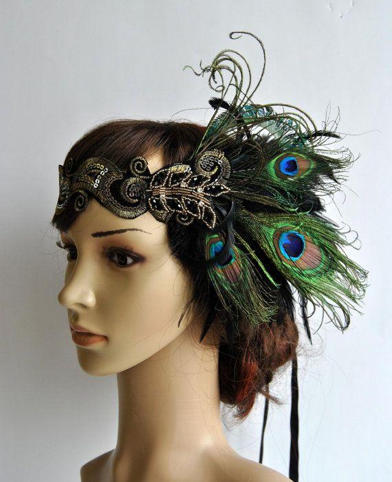 7308320433b38 Peacock Dream head dress, Peacock Headband, The Great Gatsby headpiece,1920s  Flapper Feather Headband,1930's, Feather, Art Deco headband