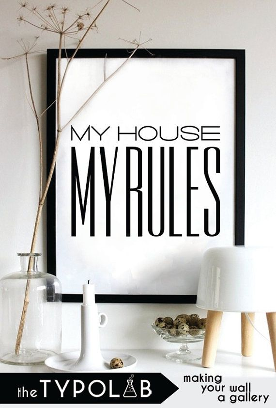 My house My rules /minimalist scandinavian nordic home decor/ typography print poster/motivational quote /gallery wall poster, black No. 116