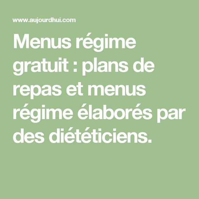 Menus régime gratuit : plans de repas et menus régime élaborés par des diététiciens.