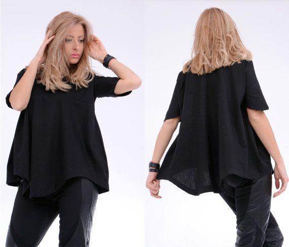Black Tunic/ Asymmetric Top/ Maxi Tunic/ Oversize Top/ by Adeptt