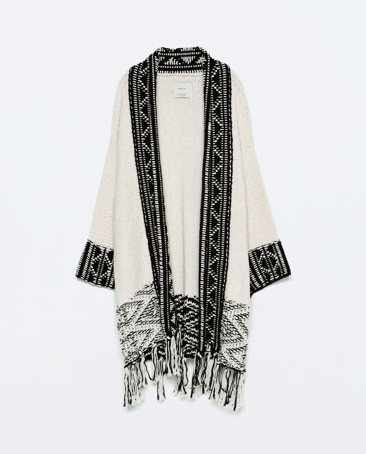 Image 8 of JACQUARD JACKET WITH FRINGED HEM from Zara