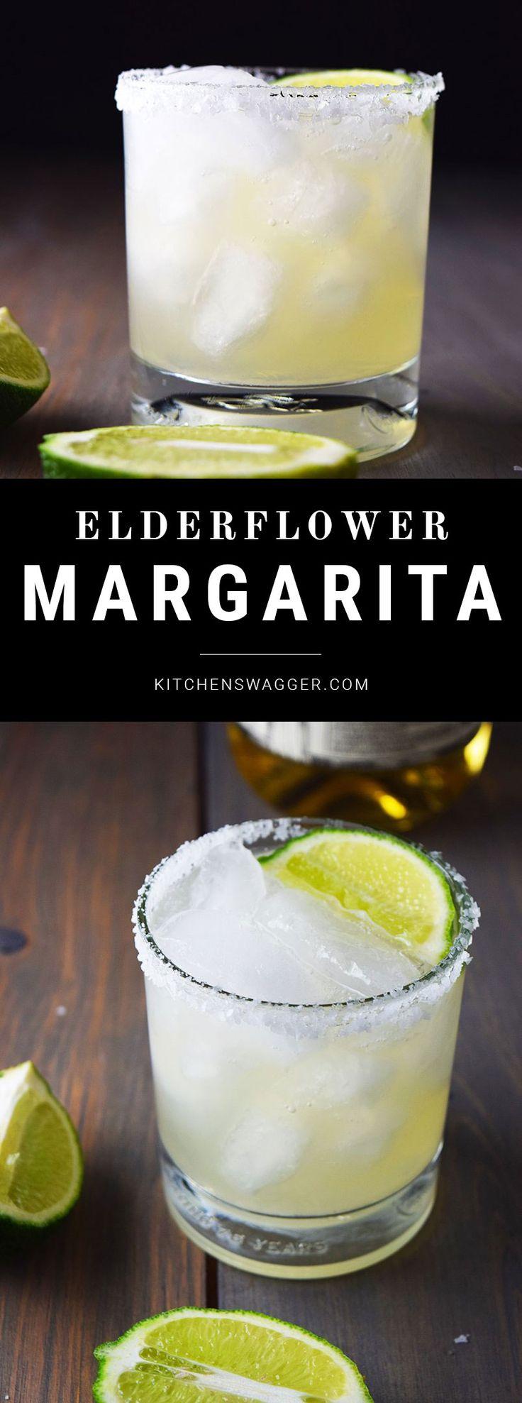 Refreshing elderflower margarita made with tequila, elderflower liqueur, fresh lime juice, and sugar.