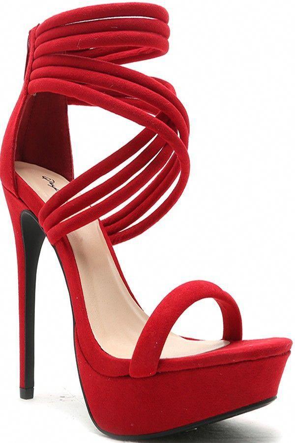 81e2e26d8 RED FAUX SUEDE ZIPPER BACK CRISS CROSS HIGH HEEL,Women's Heels-Sexy Heels,
