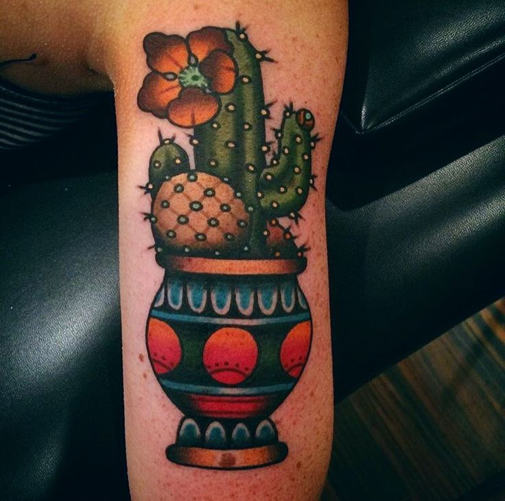 FYeahTattoos.com — Potted cacti done by Keller @ Classic Tattoos in...