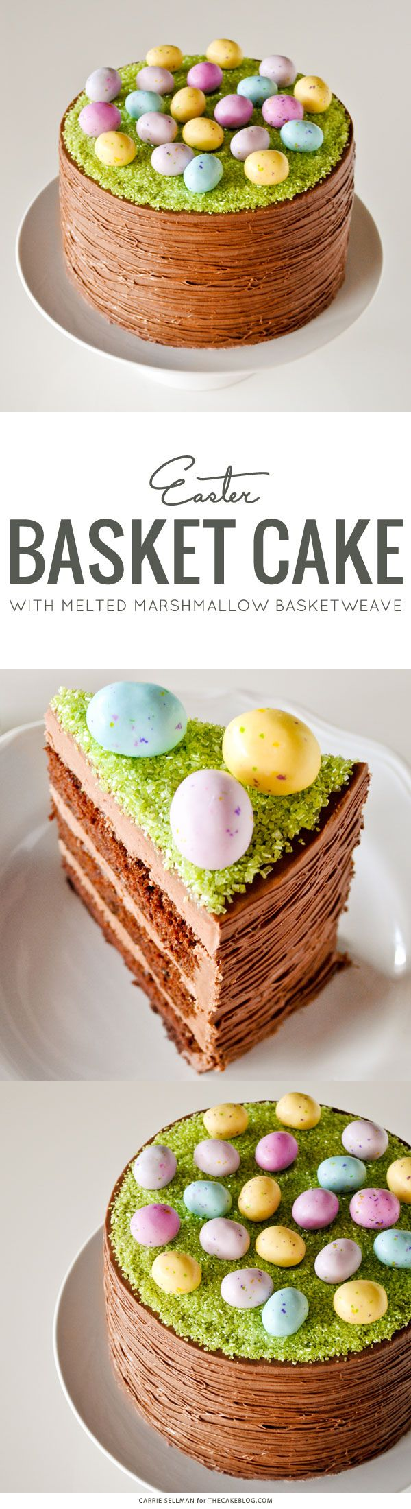 An elegant Easter Basket Cake inspired by grapevine baskets. Learn how to make this simple no-tools-required cake with a step-by-step tutorial. Created by Carrie Sellman for The Cake Blog.