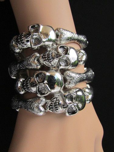 NEW WOMEN SILVER HAND BIG SKELETON WIDE CUFF SKULLS TRENDY FASHION BRACELET FACE | eBay