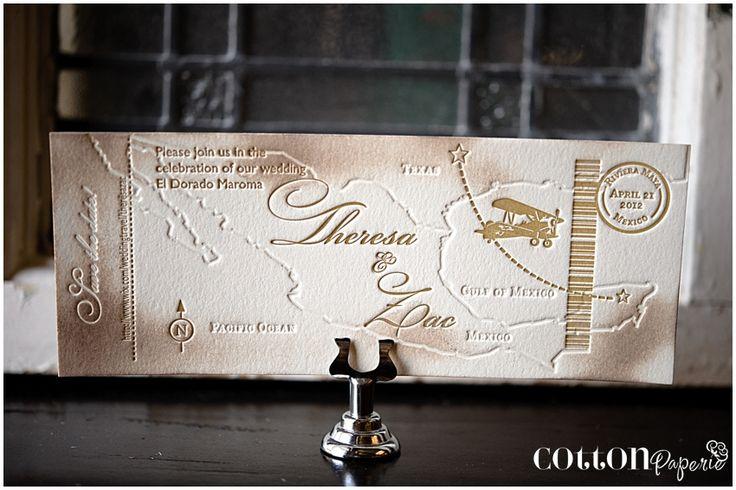 letterpress save the date wedding invitations