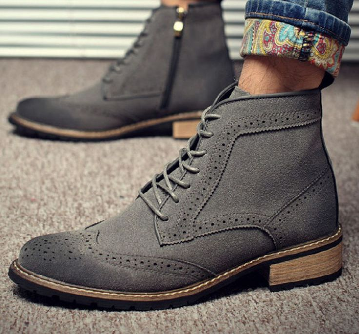 Brand Suede Leather Chelsea Boots Sewing Thread Men Ankle Boots Vintage  winter #Handmade #ankleHigh