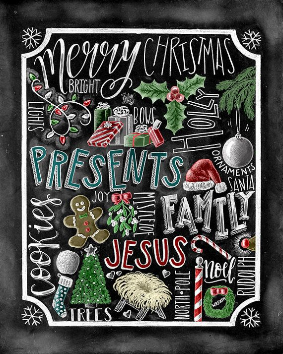 Christmas Decor Christmas kunst Jezus schoolbord door TheWhiteLime