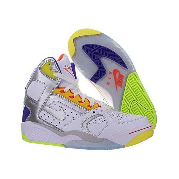 New Men's Nike Air Flight Lite High White/Silver/Grape Size 10 Basketball  Shoes