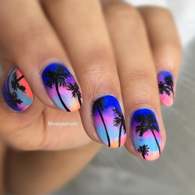 Tropical palm tree & sunset nail art using: @salonperfect Violets are Blue, @inmnails Dream On, Let's not Coral, @sinfulcolors_official Chic Chic
