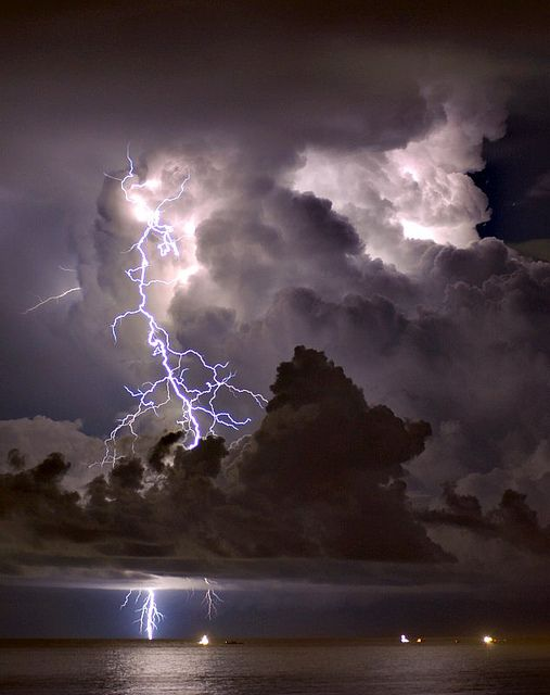 rolling clouds, lightning