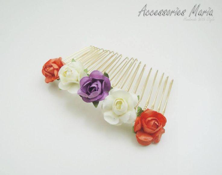 Pieptene cu floricele (10 LEI la AccessoriesMaria.breslo.ro)  #headband #flowers #roses #handmade #AccessoriesMaria