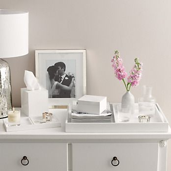 Use White Lacquered Trays To Section Off The Top Of The Dresser And Create  A Polished
