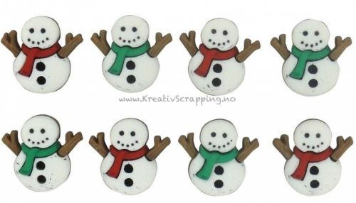 BUTTONS - DRESS IT UP JUL 7494 - SEW CUTE SNOWMEN Inneholder 8 stk snomenn i pakken. JESSE JAMES-Dress It Up Button Embellishments. Tiny embellishments for adding dimension to all of your scrapbook pages, cards, invitations and craft projects. Button embellishments come in a variety of shapes and sizes and some even feature glitter. Size, shape and number of embellishments per package varies by theme.
