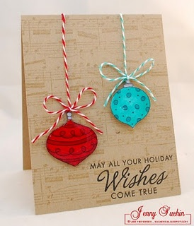 Several handmade cards with twine (music background) ** ooo i like the red/aqua for xmas colors, instead of red/green....