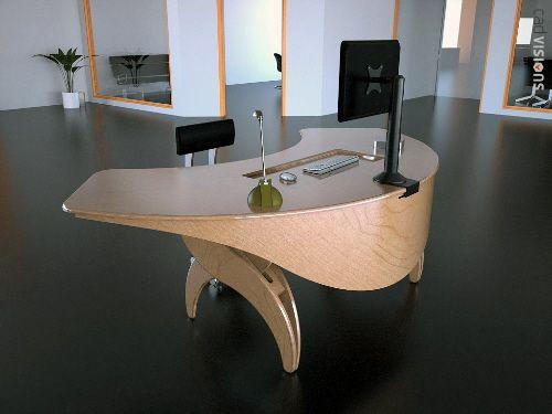 Stunning U Shaped Workstation With Modern Brown Wooden Computer ...