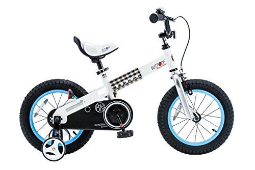 RoyalBaby Buttons Kids Bike Boys Bikes and Girls Bikes with training wheels Gifts for children 14 inch wheels Blue