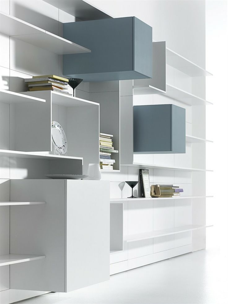 Sectional MDF #storage wall VITA by MDF Italia | #design Massimo Mariani, Aedas R&S #books #white