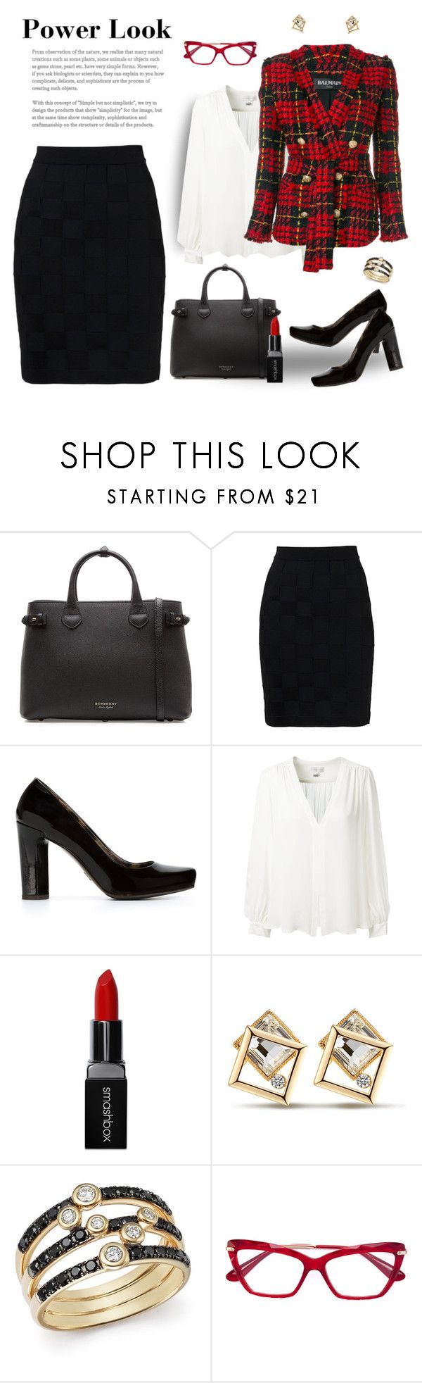 """No Wage Discrimination Here!"" by krusie ❤ liked on Polyvore featuring Burberry, Balmain, Dolce&Gabbana, Erin Fetherston, Smashbox and Bloomingdale's"