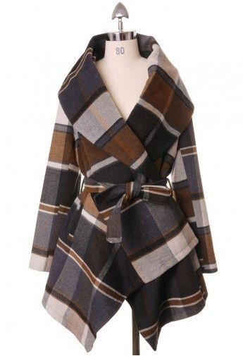 Oooh! Loving this warm plaid wool coat!