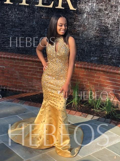 d643e567da Trumpet Mermaid Sleeveless Halter Sequin Sweep Brush Train Satin Dresses -  Hebeos Online