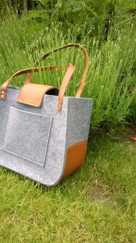 Felt and leather bag Grey felt tote bag Tote big от feltallovercom