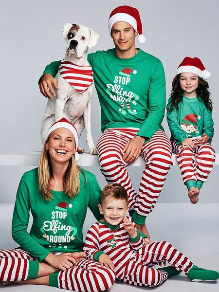 c5a13b877cd2 Family Christmas Pajamas Kids Green Green Pants With Top Unisex Morning Pjs