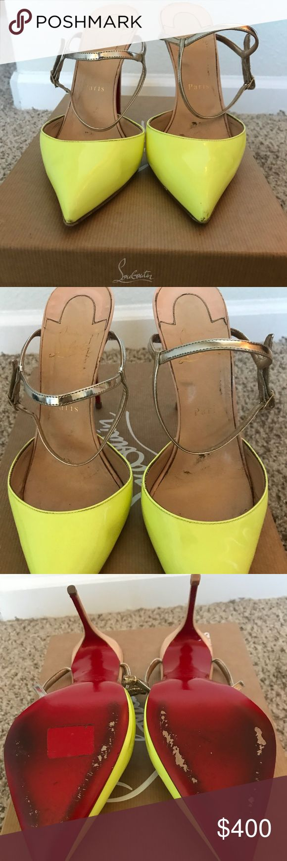 Christian Louboutin Rivierina 100mm Neon Pumps 39 Christian Louboutin Rivierina 100mm Neon Pumps size 39. Colors are Neon Green with light gold straps and baby pink/nude back. Slightly worn and stretched out comfortably. VERY COMFORTABLE. Comes with original box and dust bags. Could fit size 8.5-9.5 perfect for wider foot Christian Louboutin Shoes Heels
