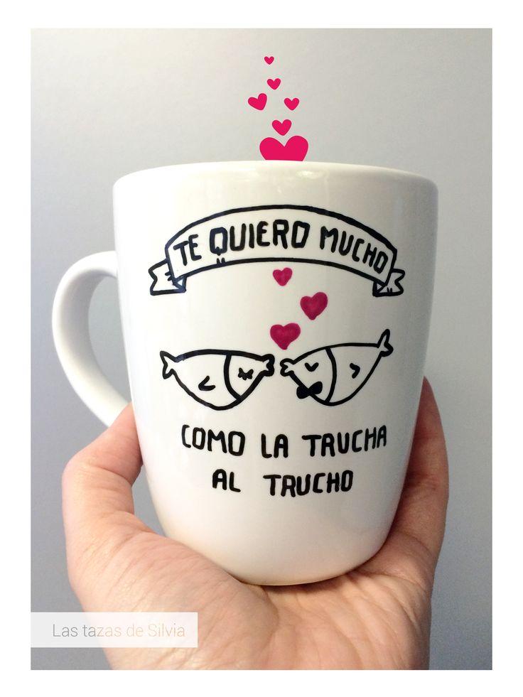 "Mugs lovers, relax and take some coffee. Taza romántica personalizada pintada a mano. Taza de San Valentín. Por ""Las tazas de Silvia"""