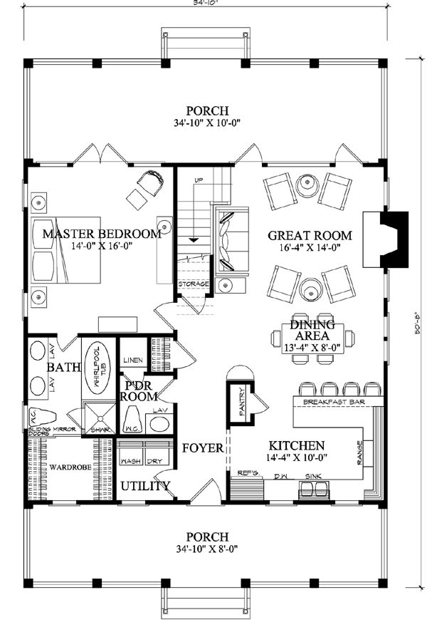 First Floor Plan of Cottage Country Farmhouse House Plan 86101